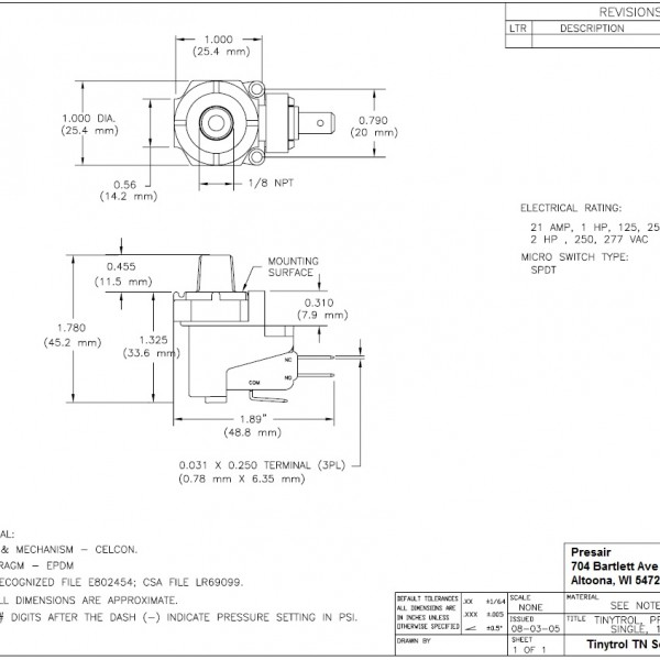 Fixed Setpoint Pressure Switch Product Dimensions
