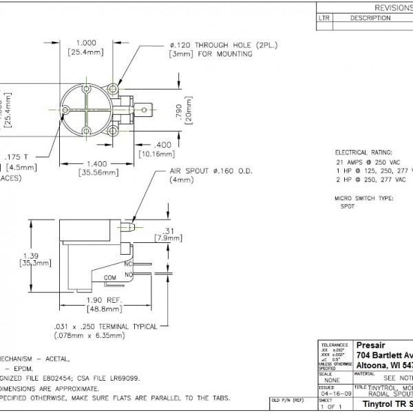 Tinytrol Engineering Drawing, Presair, Pressure Switch Diagram, TR series