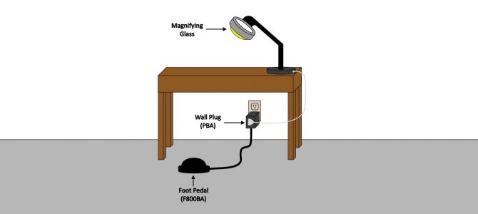 Hands-Free Foot Pedal Switch for Magnifying Glass