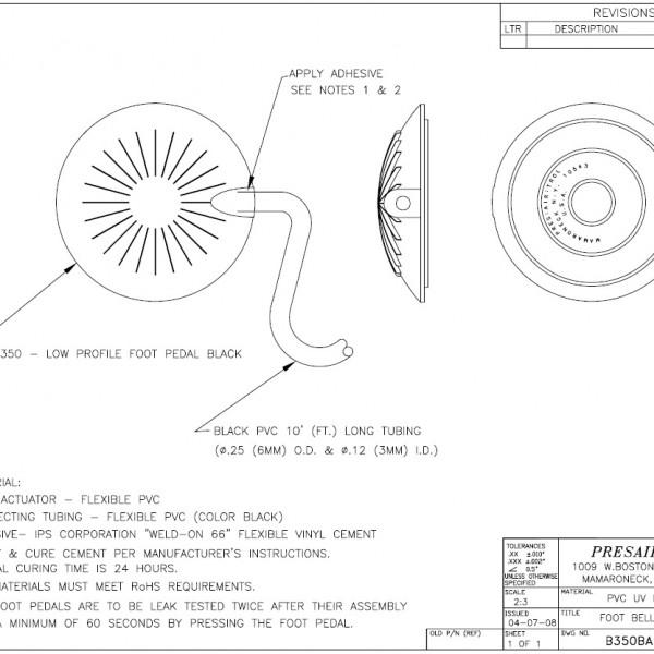 Foot Pedal Engineering Drawing - Presair - B350BA