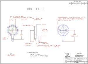 PC Board Switch Drawing, PRESAIR, PCB Switch, PC Board Mount Switch