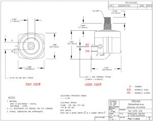 Adjustable Pressure Switch Drawing, PM11120A, pressure switch