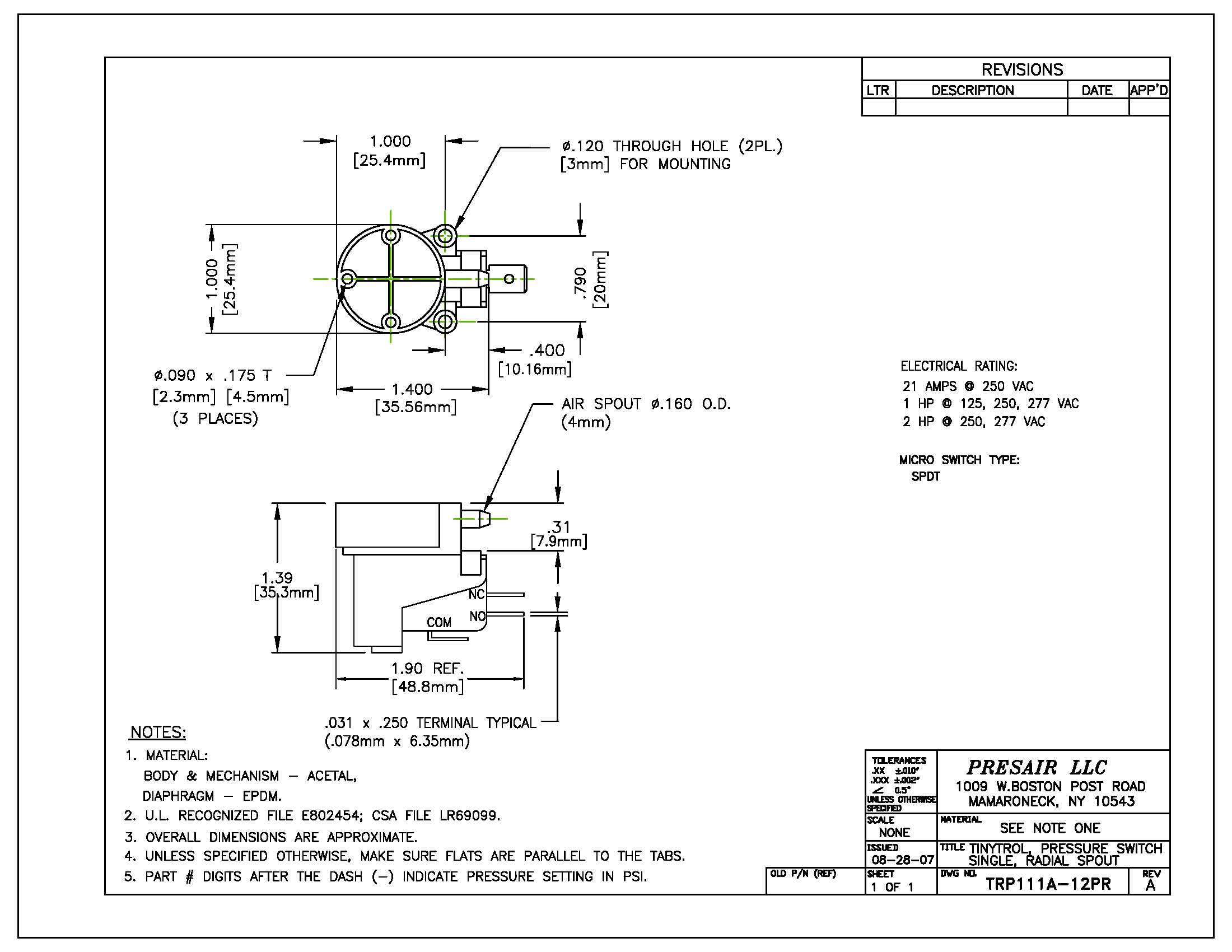 Tinytrol Engineering Drawing, Presair, Pressure Switch Diagram, TRP111A