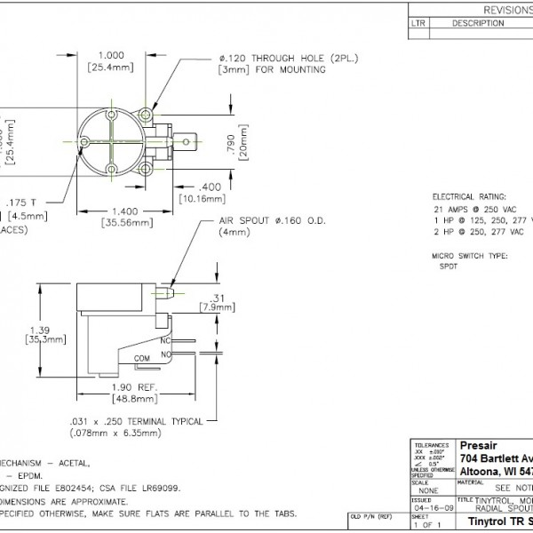 Tinytrol Engineering Drawing, Presair, Pressure Switch Diagram, TR series